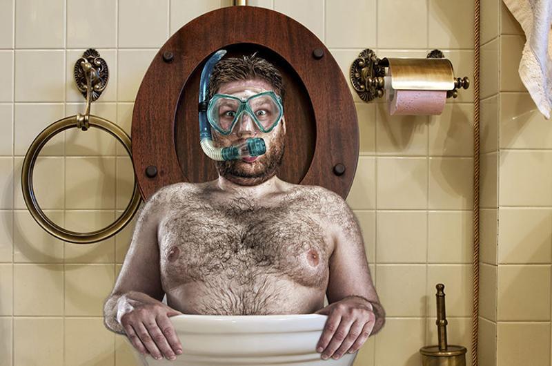 weird bizarre man toilet scuba