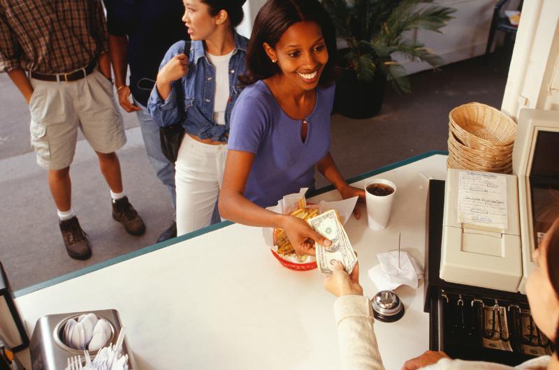 customer buying food cash