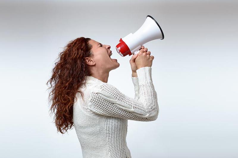 woman megaphone
