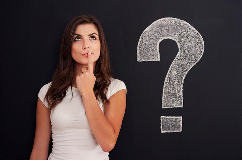 woman question blackboard