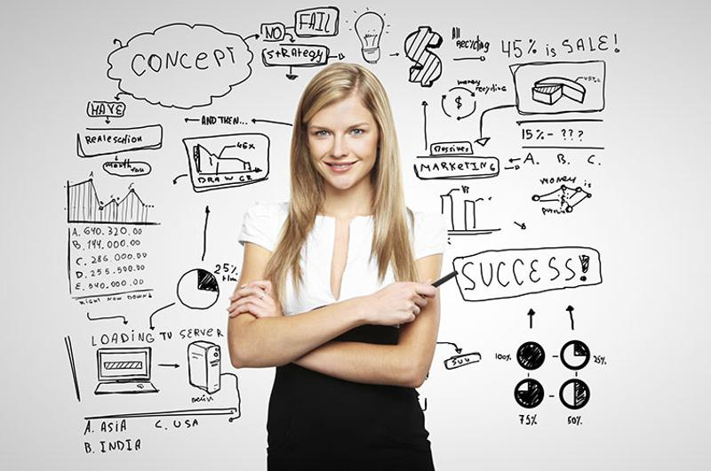 young manager woman business plan brainstorm