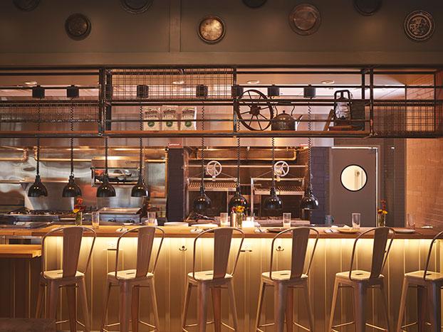 bar seating kitchen view