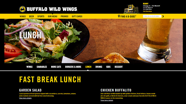 buffalo wild wings fast break lunch