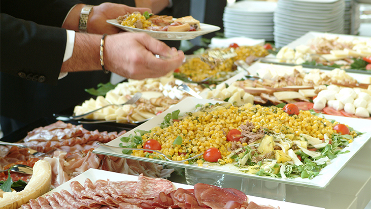 catered food buffet