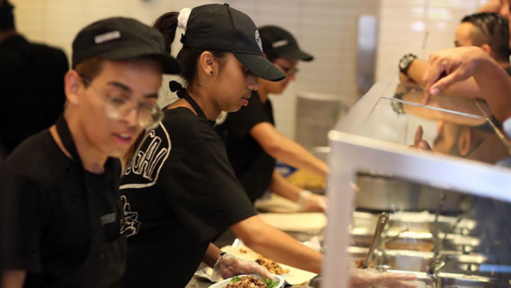 chipotle workers line