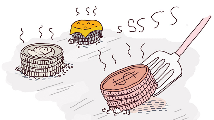 coins frying
