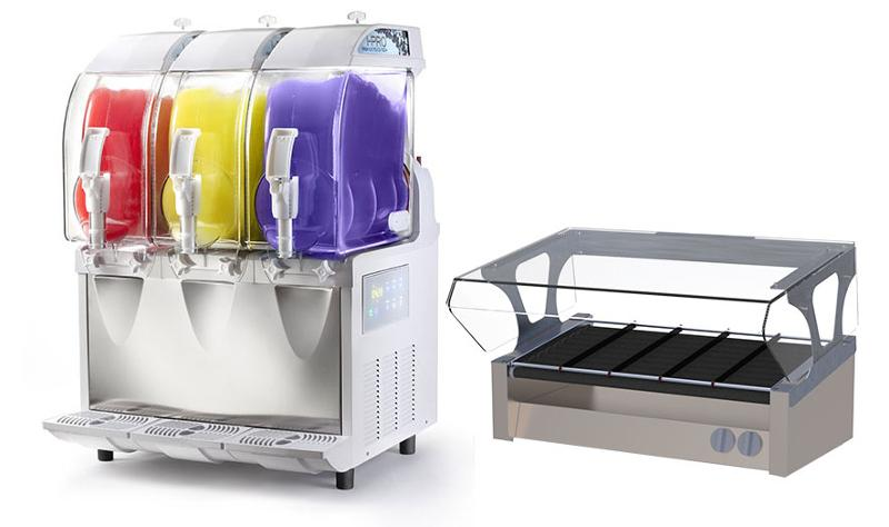 spm usa i-pro slushy machine and spirit specialty solutions roller grill sneezeguard canopy