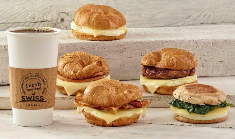 Swiss Farms coffee and sandwiches