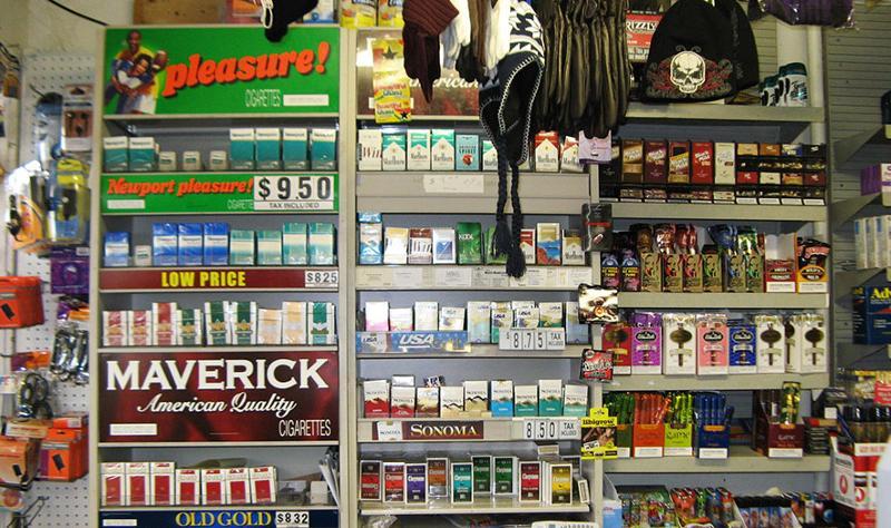 Cigarettes on a store shelf