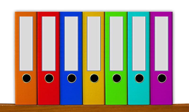 colored file boxes