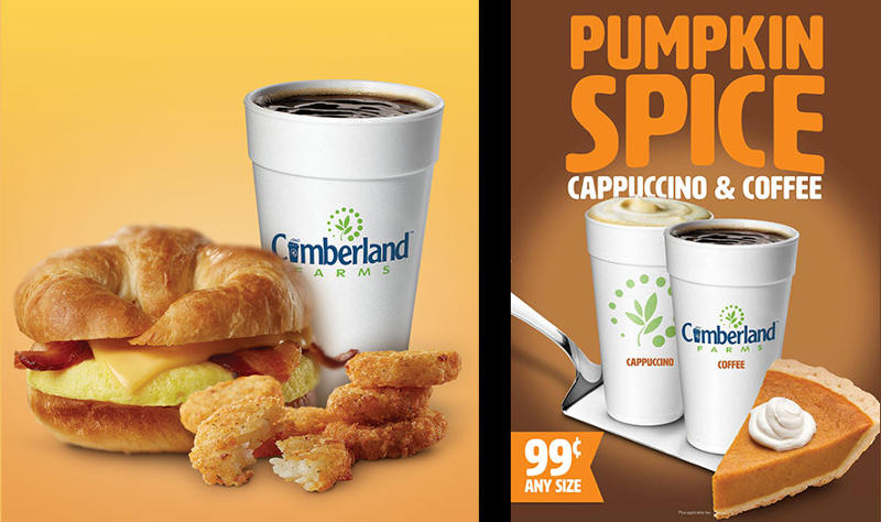 cumberland farms breakfast and pumpkin spice cappucino and coffee