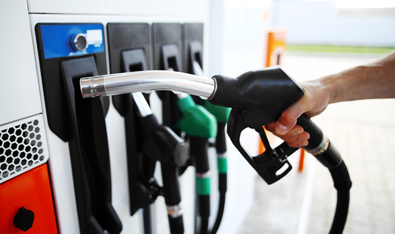 gasoline pump and nozzle