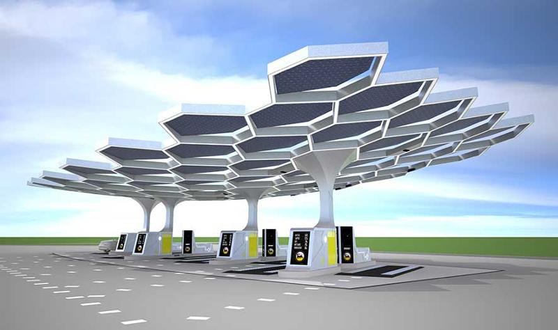 Futuristic gas station