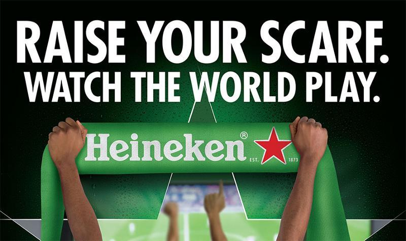 raise your scarf, watch the world play heineken
