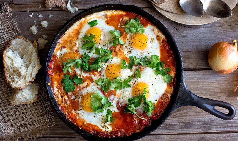 Middle Eastern shakshuka breakfast