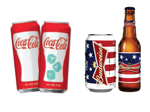 Coke chill-activated can, Bud patriotic packaging