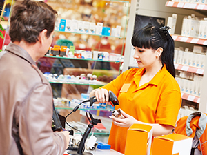 cashier with customer