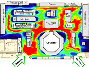 VideoMining c-store heat-map results