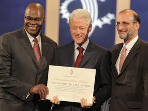 Don Thompson (left), President Bill Clinton, Howell Wechsler