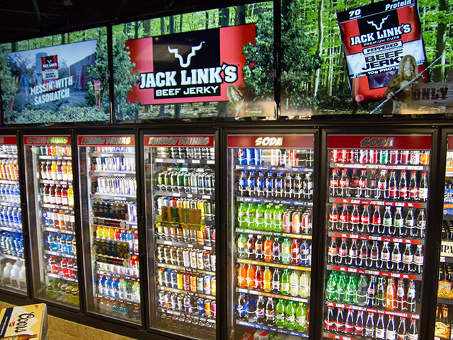 Terrible Herbst convenience stores warm-beer display