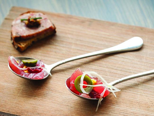Dawson tuna crudo and pâté-topped toast