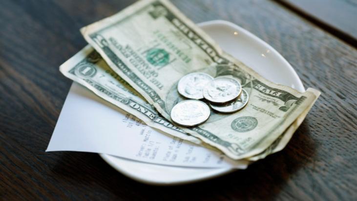 dollars change tip