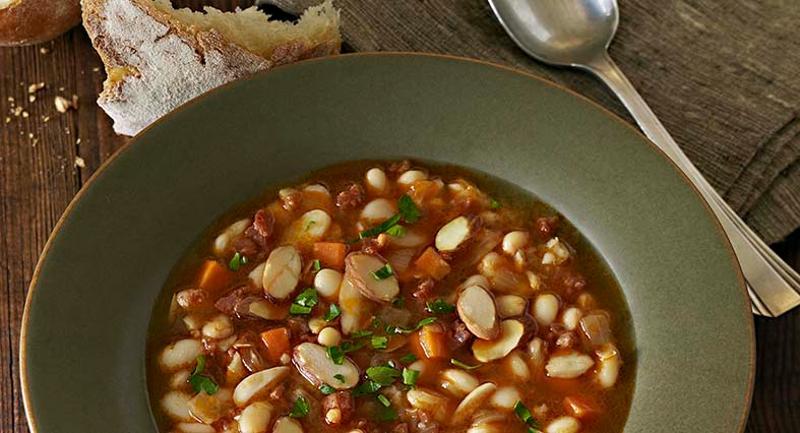 Chorizo, Almond and White Bean Soup