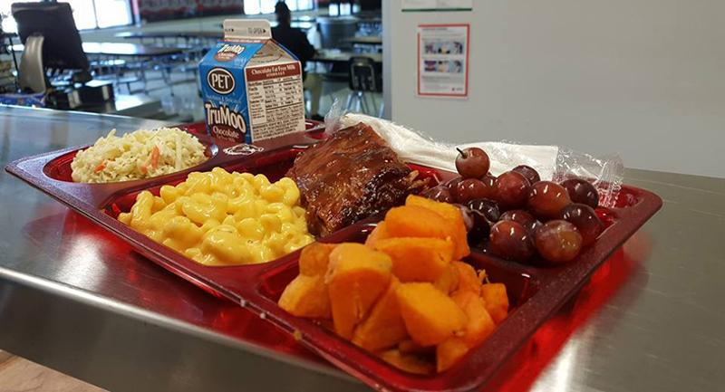 Bryson Middle School rib lunch plate