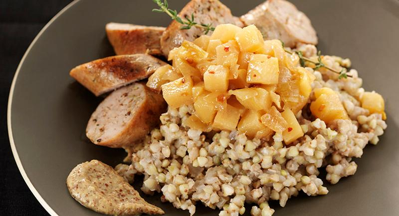 Buckwheat Risotto with Pear-Cippolini Chutney