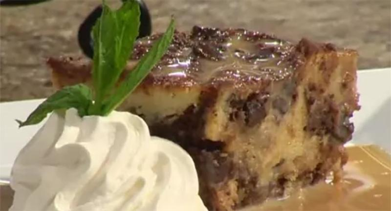 chef franks bread pudding cappuccino sauce