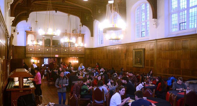 Cornell University dining hall students