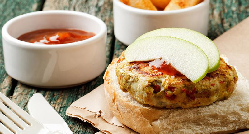 Cranberry-Apple Turkey Burgers with Aged Asiago Cheese