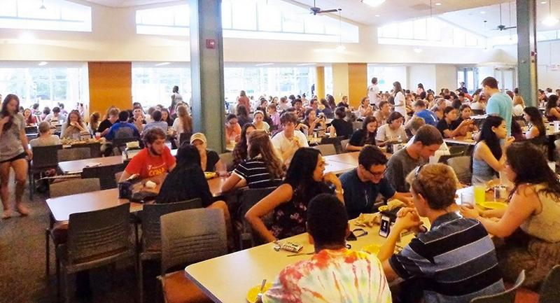 crowded dining hall