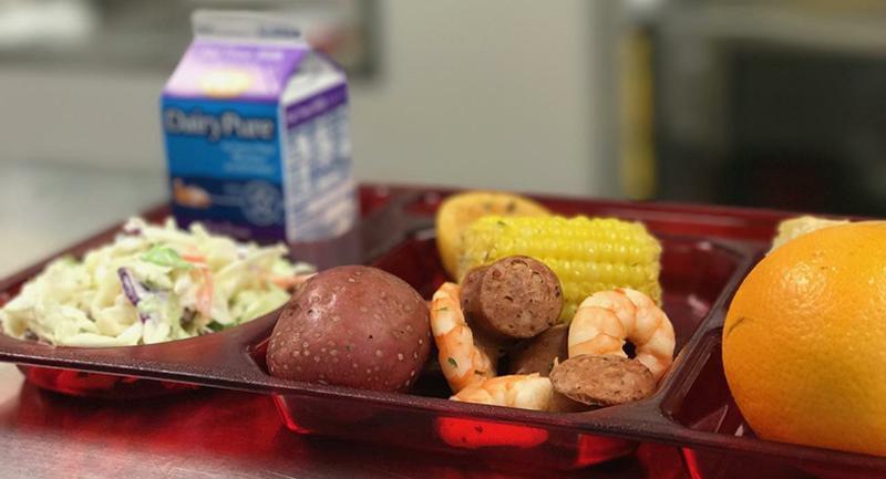 shrimp boil lunch plate