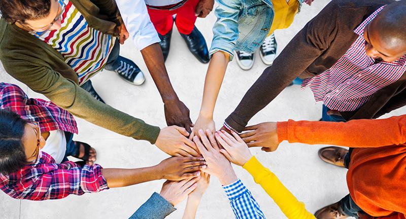 multiethnic circle teamwork