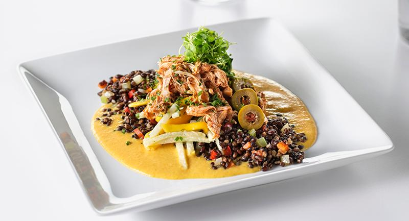 Chicken Ropa Vieja with Black Barley and Mango-Jicama Salad