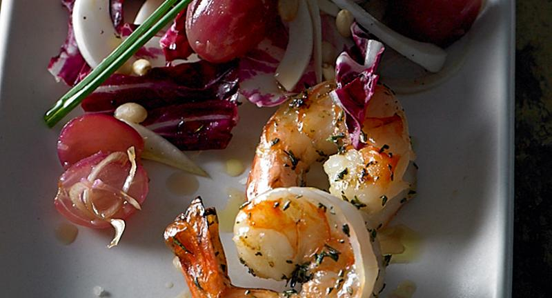 Shrimp and Pan-Roasted Grape Salad