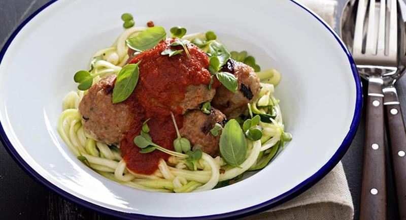 Turkey-beef meatballs with zucchini noodles