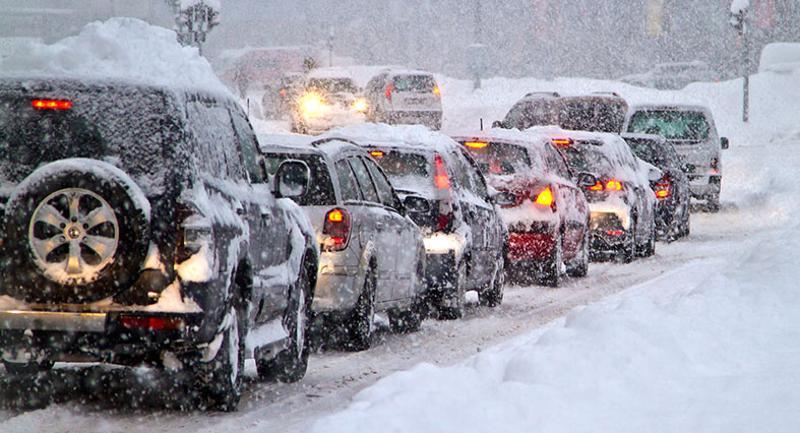winter traffic jam