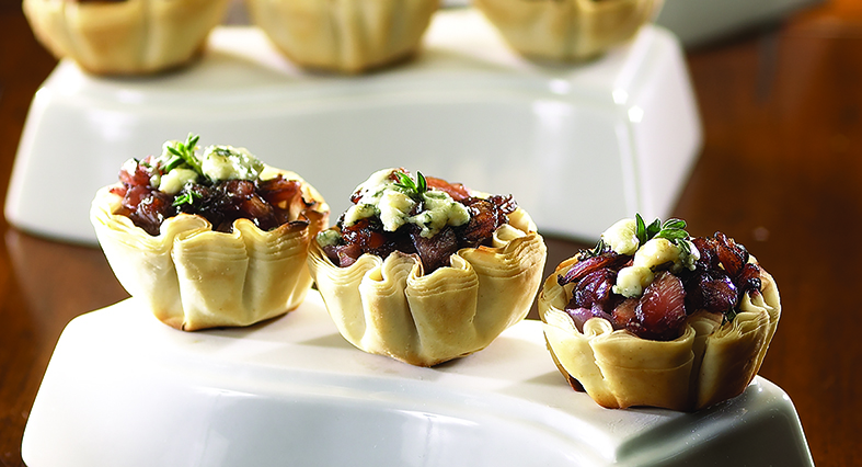 Balsamic Onion and Blue Cheese Tartlets