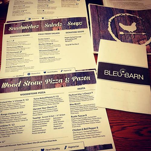 bleu barn menus