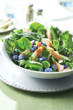Ingredients, berries, blueberry salad