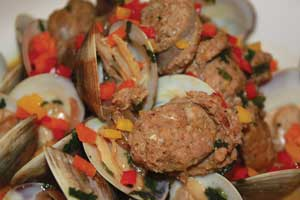 Latino, Argentinian steamed clams with orange