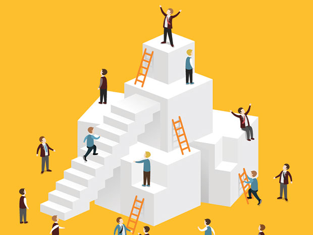 business ladder climbing illustration
