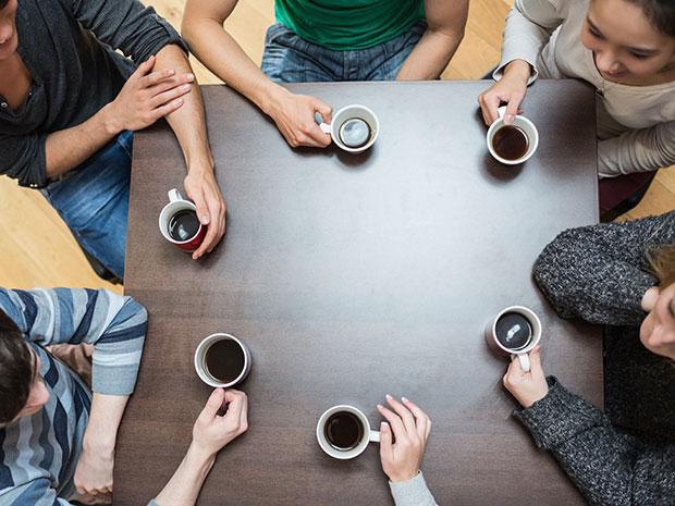 college students drinking coffee