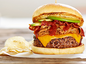 pulled pork bacon burger