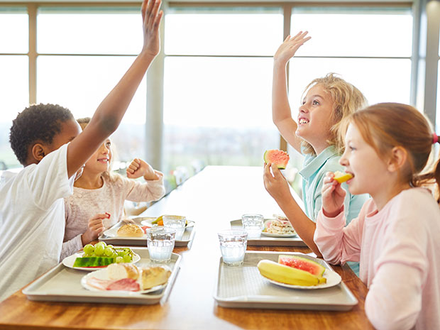 students eating cafeteria