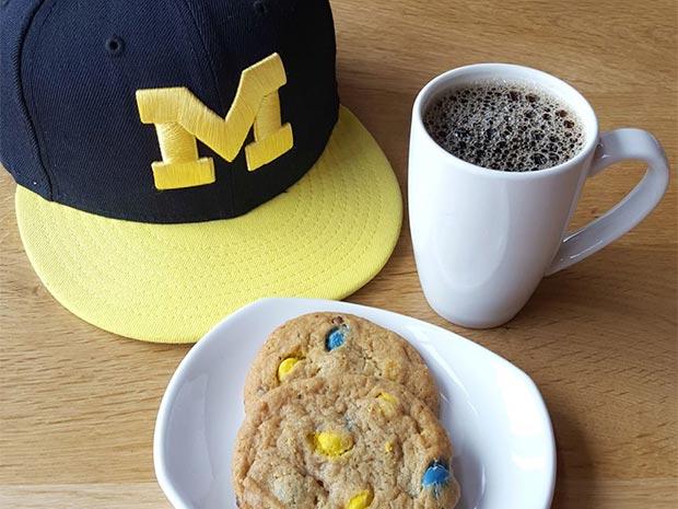 university michigan hat coffee cookies