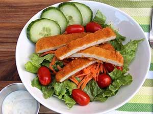 breaded chicken tender salad