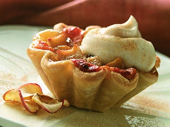 Apple-Raisin Tartlets with Cheddar and Calvados Sour Cream